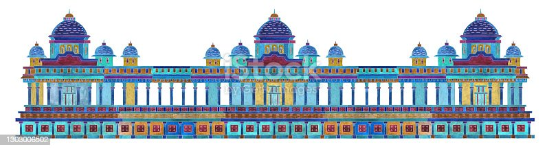 Border architecture pattern with fantasy ornate Indian antique temple on a white background. Watercolor hand drawn painting on colorful thin line contour, T-shirt print, Batik paint, textile print