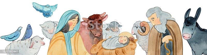 istock border of Christian Nativity scene on white background. Virgin Mary, Jesus Christ, Joseph, sheep, animals. 1332302441