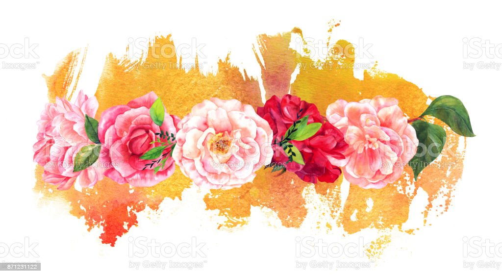 Border Of Watercolour Flowers On Splash Golden Paint Royalty Free