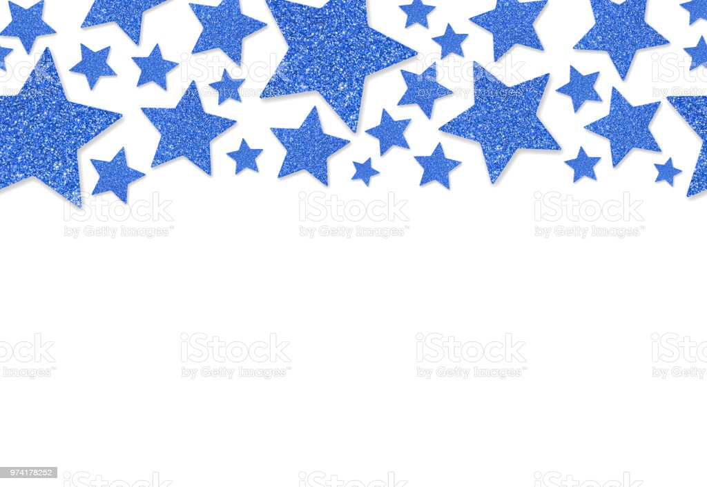 border with blue stars of sequin confetti glitter powder sparkling background royalty free