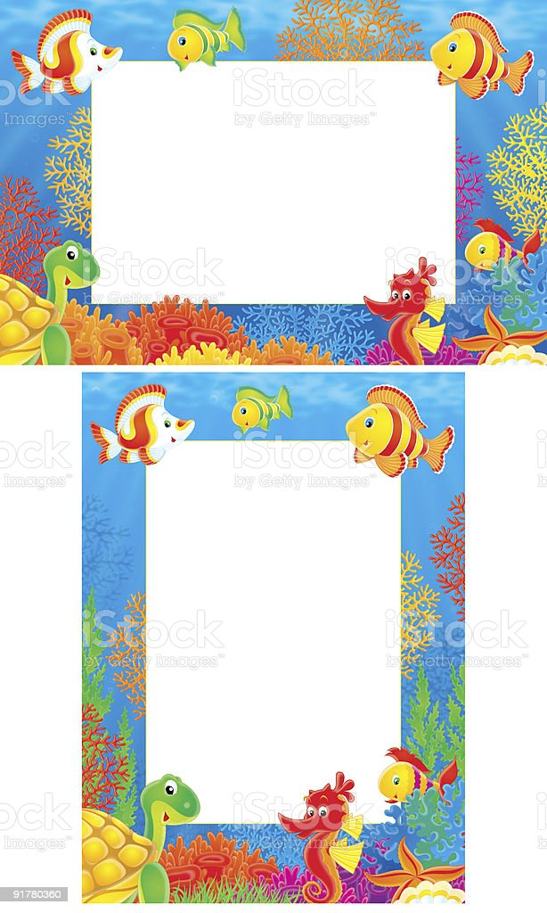 Border with funny animals of coral reef vector art illustration