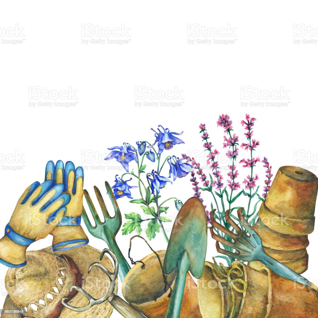 Border With Gardening Tools Solar Hat Gloves Terra Cotta