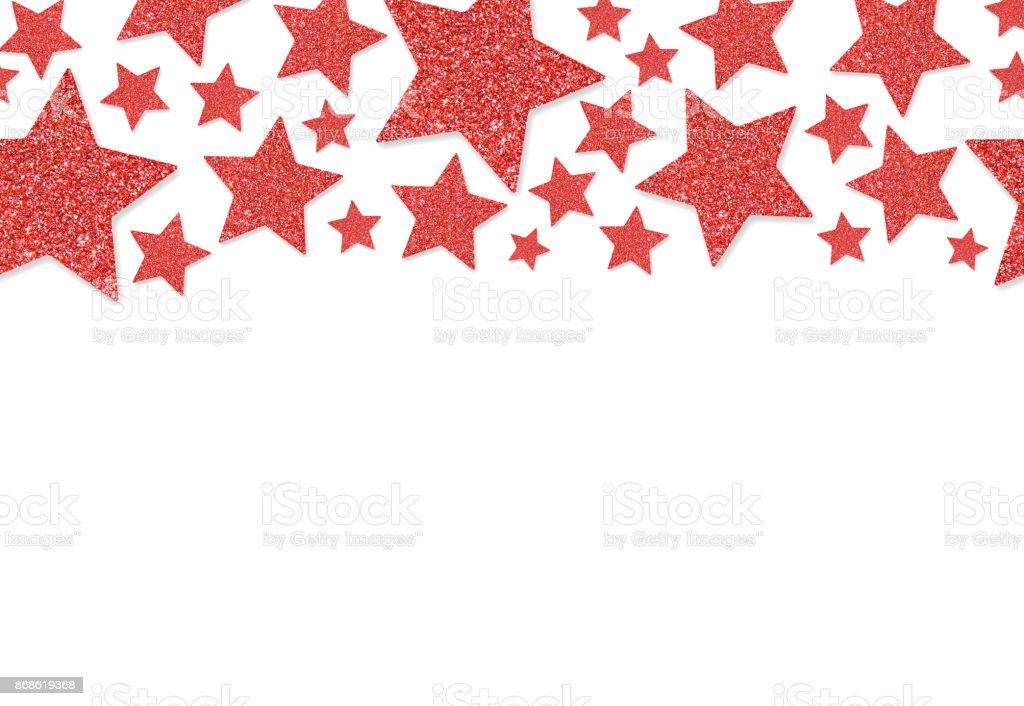 장식 조각 색종이의 빨간 별 테두리 반짝이 가루 반짝이 배경 ...
