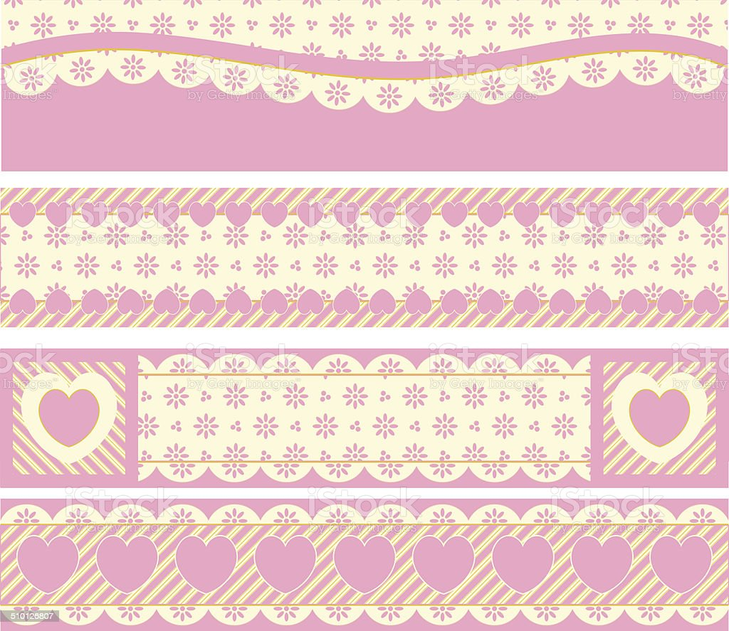 Borders With Victorian Eyelet Hearts and Stripes vector art illustration
