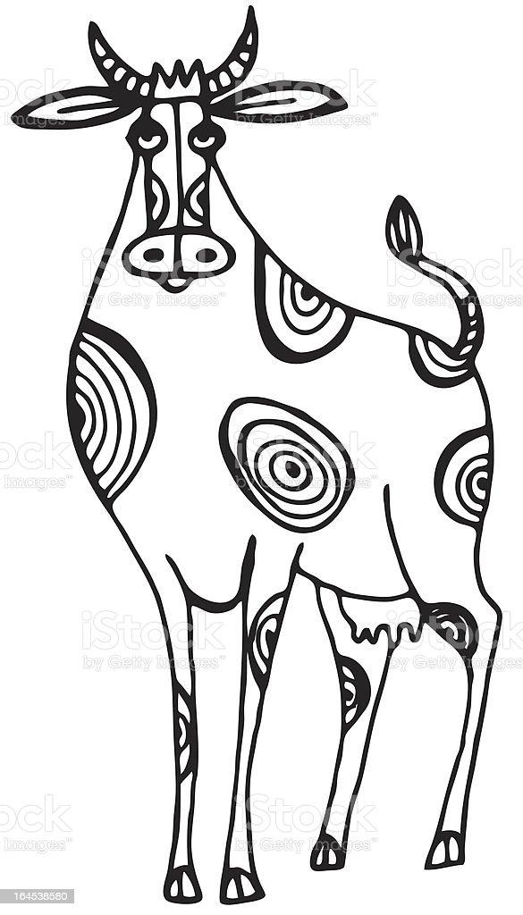 Bored Cow vector art illustration