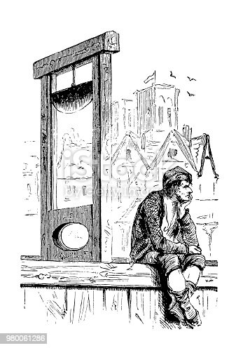 Illustration of a Bored hangman with guillotine, French Revolution