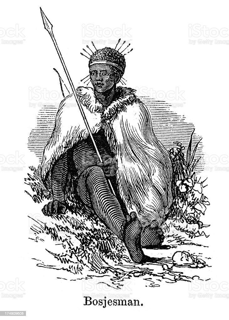 Bosjesman Bushman vector art illustration