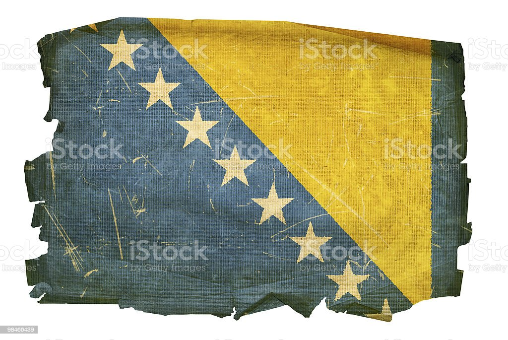 Bosnia and Herzegovina Flag old, isolated on white background. royalty-free bosnia and herzegovina flag old isolated on white background stock vector art & more images of aging process