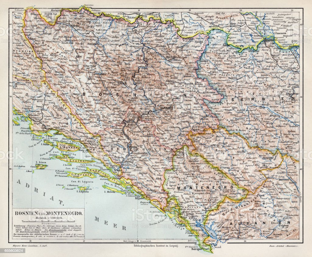 Bosnia and Montenegro map 1895 vector art illustration