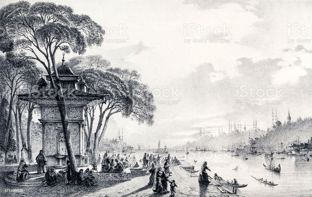 Bosporus von Uskudar – Vektorgrafik