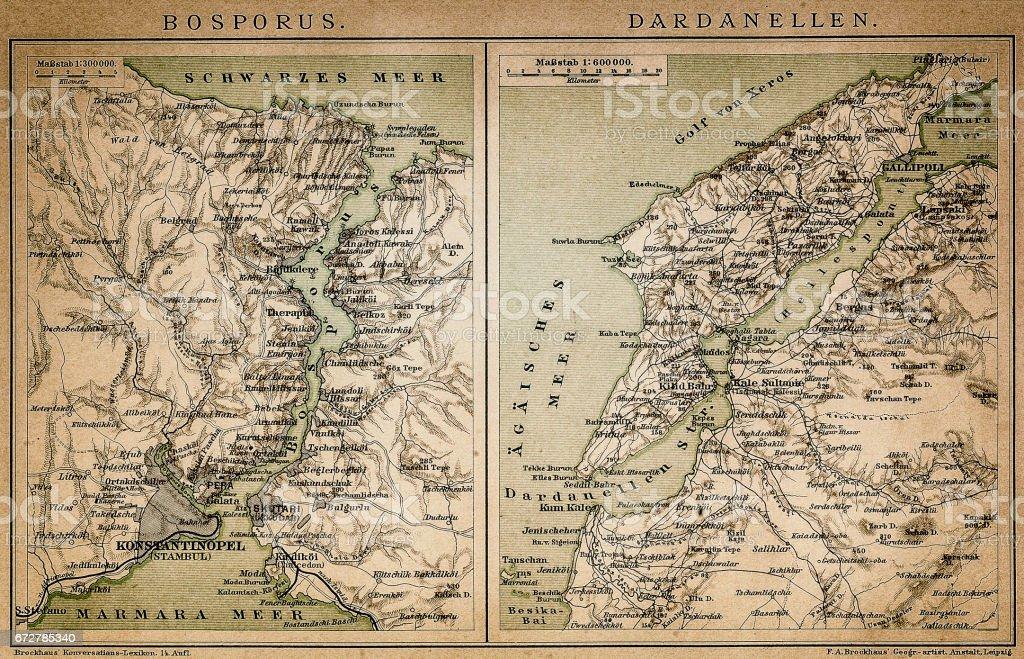 Bosporus and Dardanelles map vector art illustration