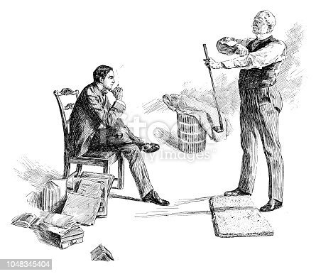 Boss praticing golf in his office - Scanned 1899 Engraving