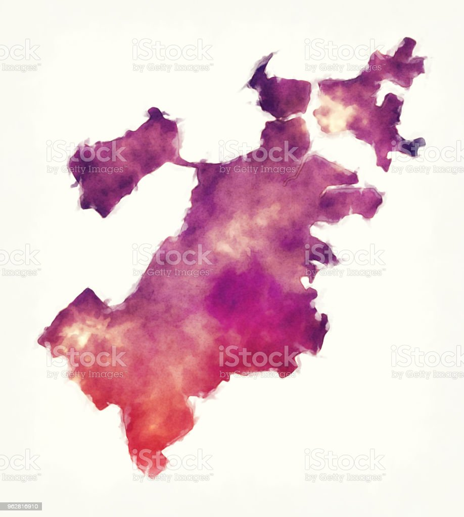 Boston Massachusetts city watercolor map in front of a white background vector art illustration
