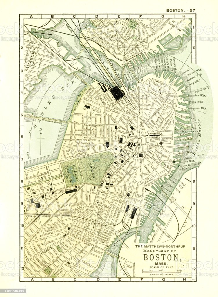 Picture of: Boston Massachusetts Map 1898 Stock Illustration Download Image Now Istock