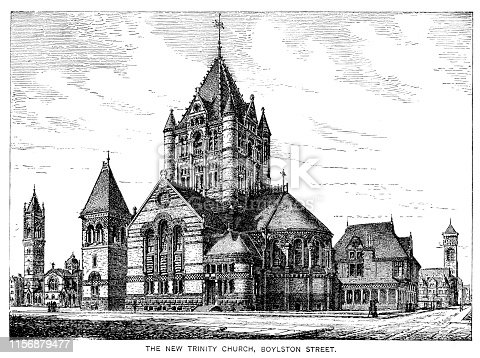 Steel engraving Boston Massachusetts New Trinity Church USA Original edition from my own archives Source :