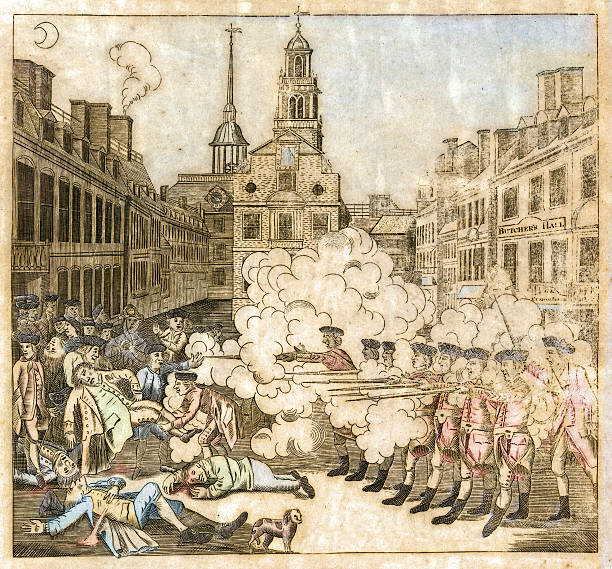 Boston Massacre, 1770 This vintage watercolor engraving features a massacre in Boston during the American Revolution. mass murder stock illustrations