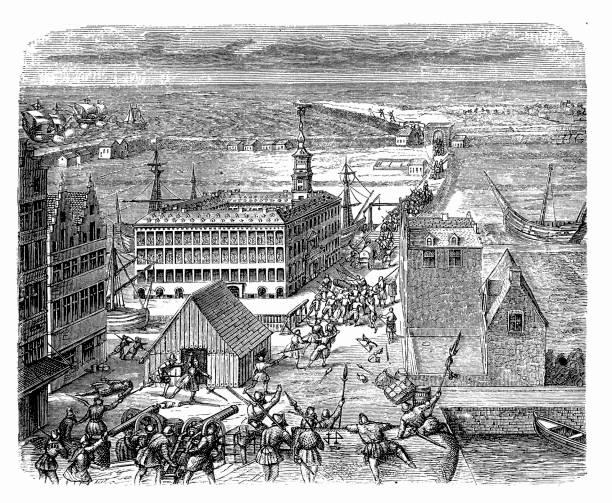 Boston Massacre, 1770 Illustration of a Boston Massacre, 1770 mass murder stock illustrations