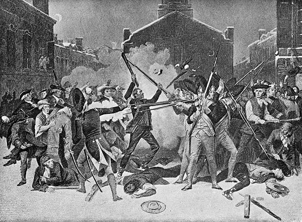 Boston Massacre Image from 1896 showing the Boston Massacre in 1770 which was part of the American Revolutionary War. mass murder stock illustrations