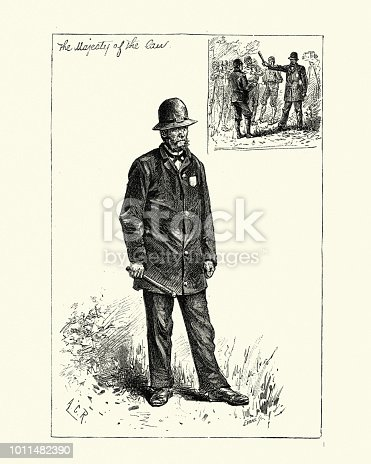Vintage engraving of a Boston Police officer, late 19th Century