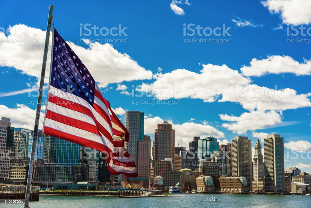Boston skyline and the United States national flag vector art illustration
