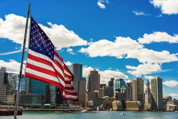 Boston skyline and the United States national flag vector art illustration