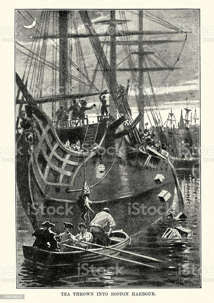 Boston Tea Party 1773 vector art illustration