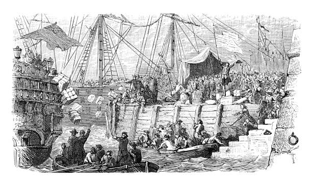 Boston Tea Party 1773 illustration vector art illustration