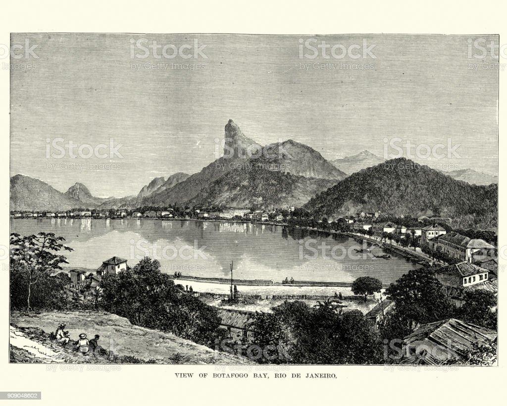 Botafogo Bay, Rio De Janeiro, Brazil 19th Century vector art illustration