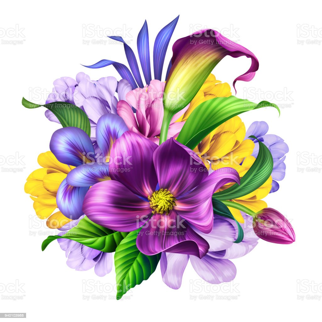 Botanical Illustration Beautiful Flowers Bouquet Floral Arrangement
