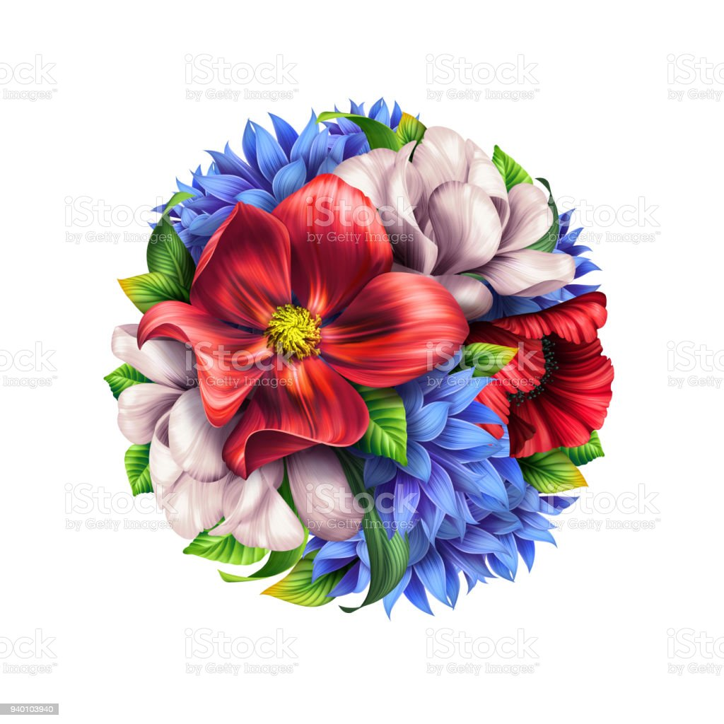 Botanical Illustration Rustic Meadow Flowers Round Bouquet Floral