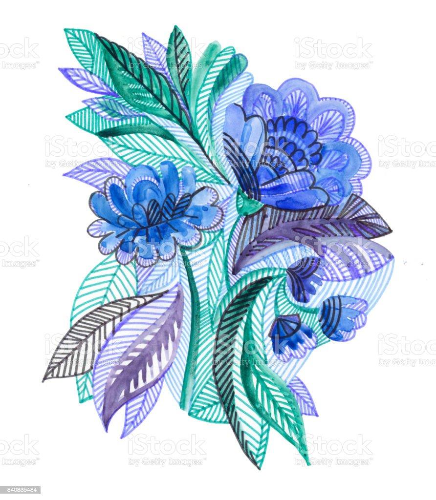Ilustracion De Ilustracion Botanica Acuarela Ramo De Flores Azules