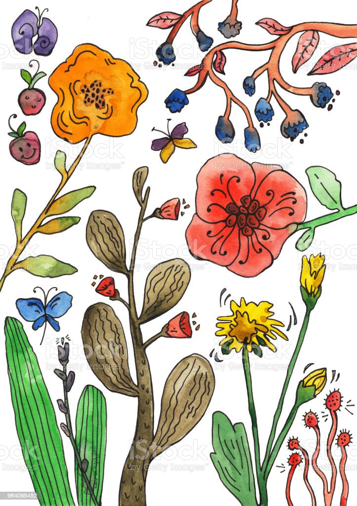 Botanical illustration, watercolor collection of plants and flowers - Royalty-free Abstract stock illustration
