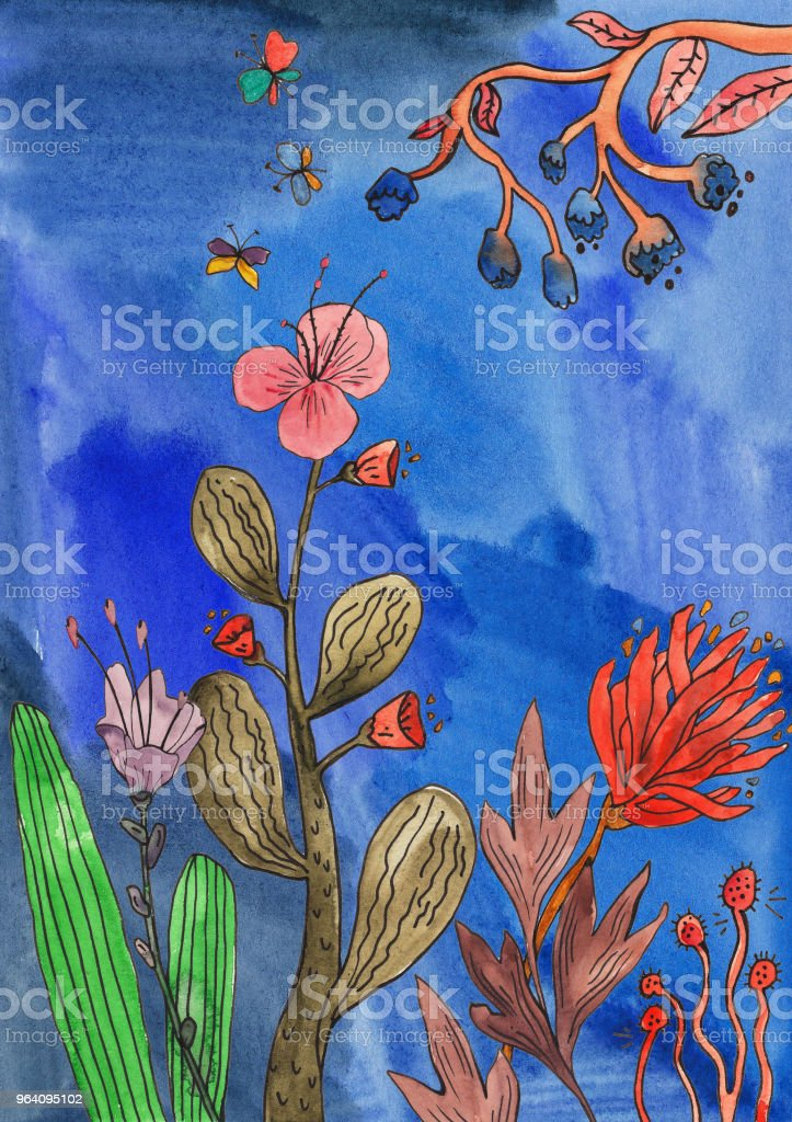 Botanical illustration, watercolor collection of plants and flowers on blue background - Royalty-free Abstract stock illustration