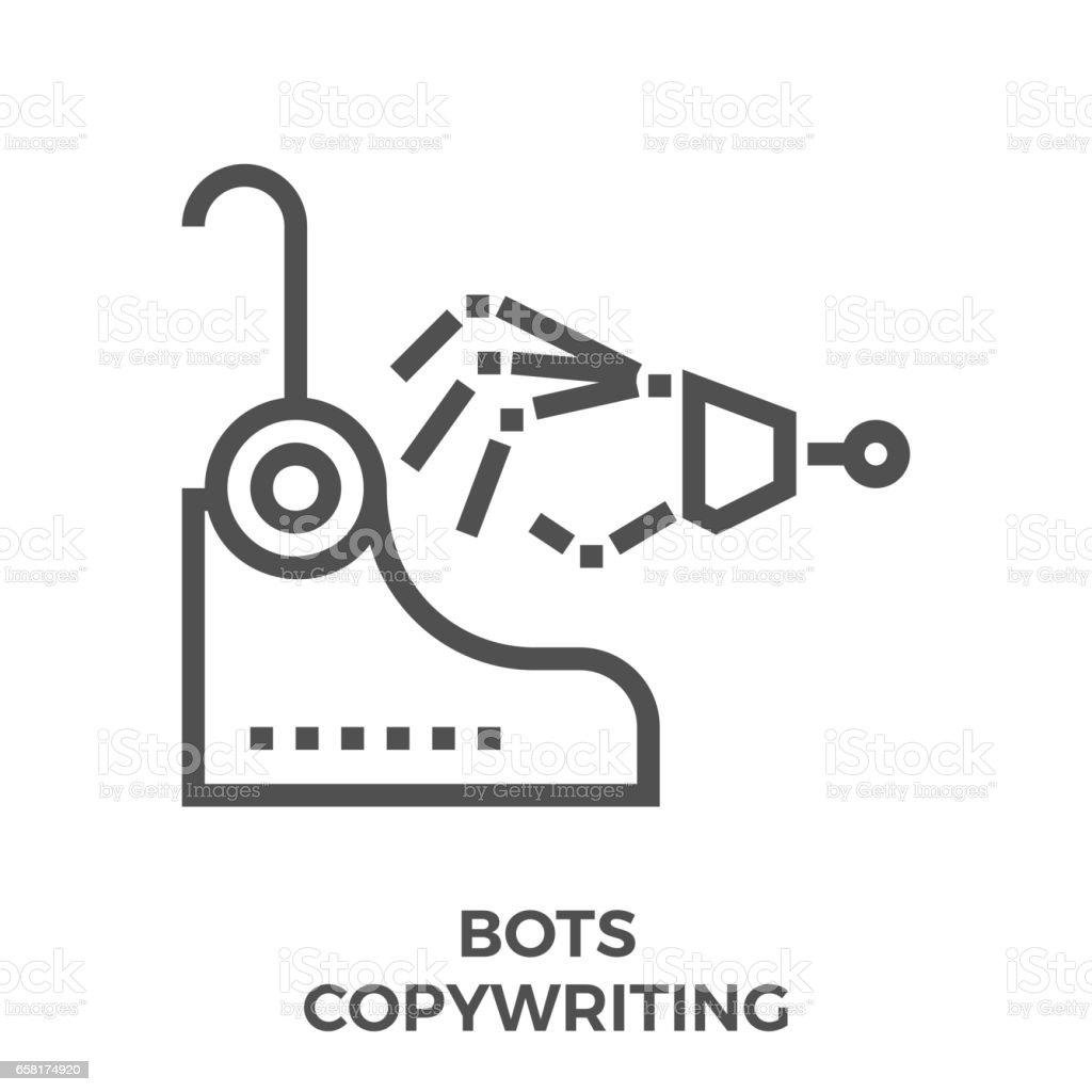 Bots copywriting icon vector art illustration
