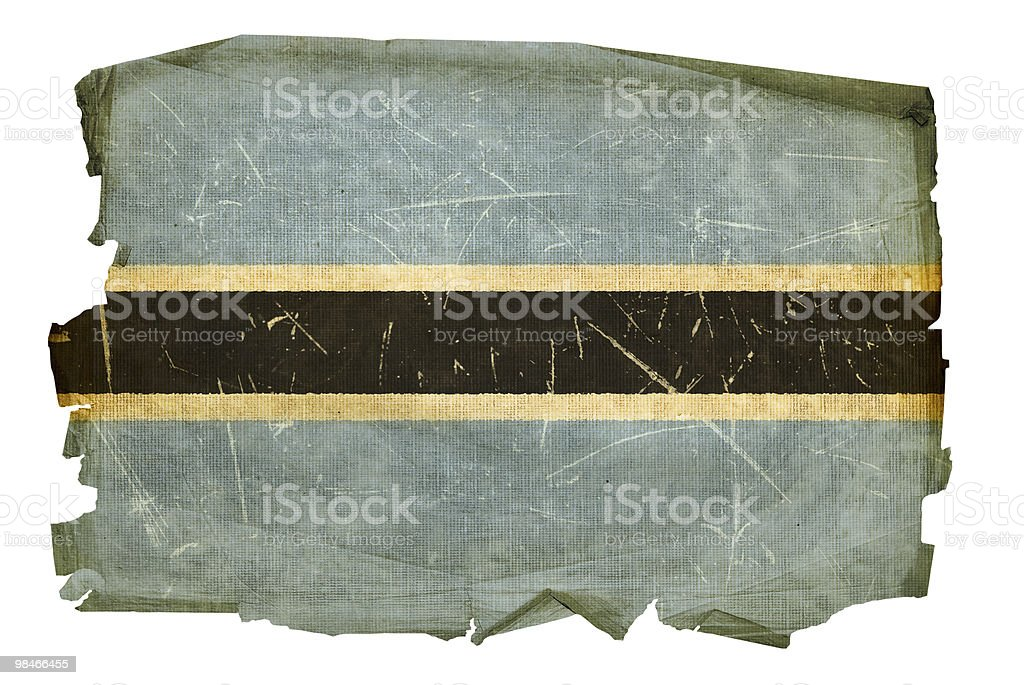 Botswana Flag old, isolated on white background. royalty-free botswana flag old isolated on white background stock vector art & more images of aging process