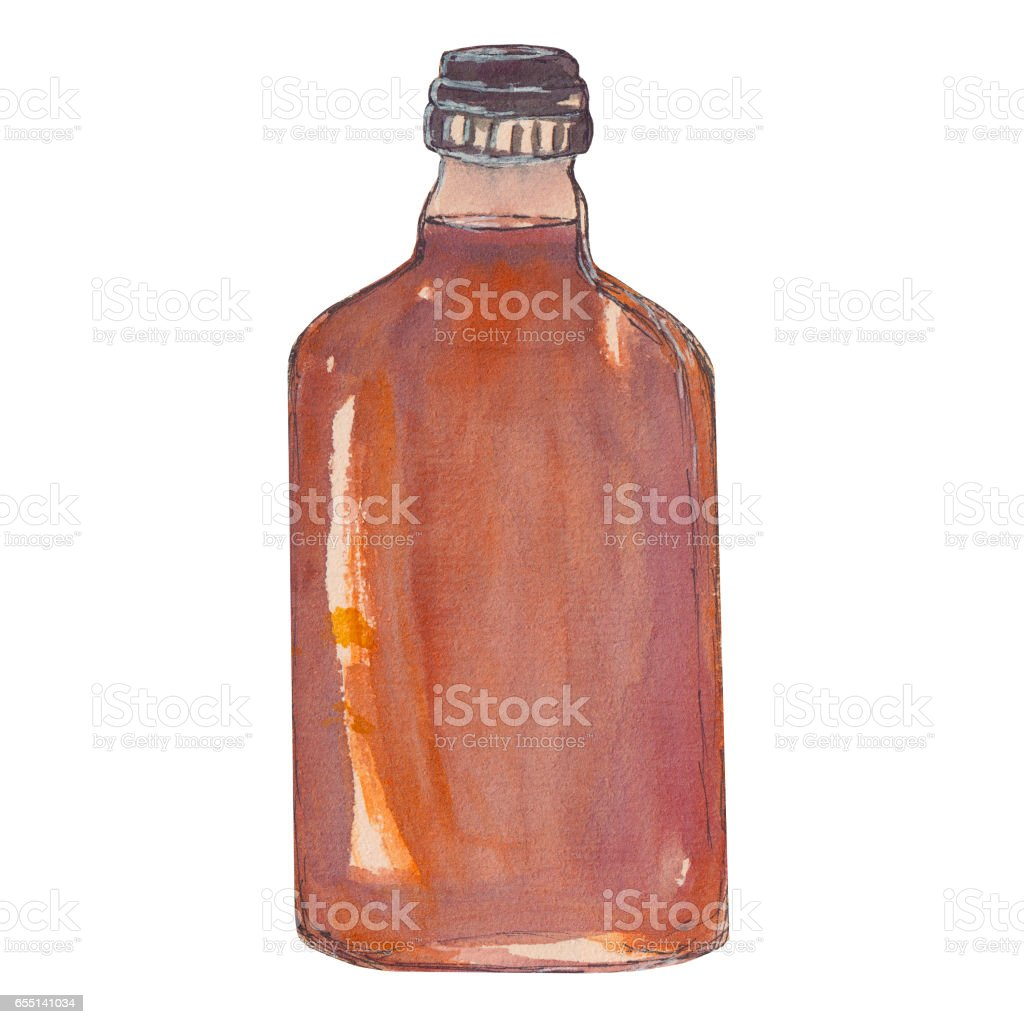 Bottle of brandy, whiskey, cognac. Watercolor isolated illustration. vector art illustration