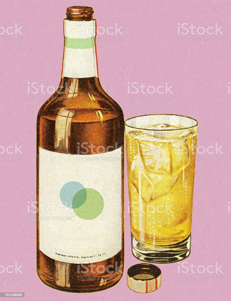 Bottle of Liquor and Drink royalty-free stock vector art