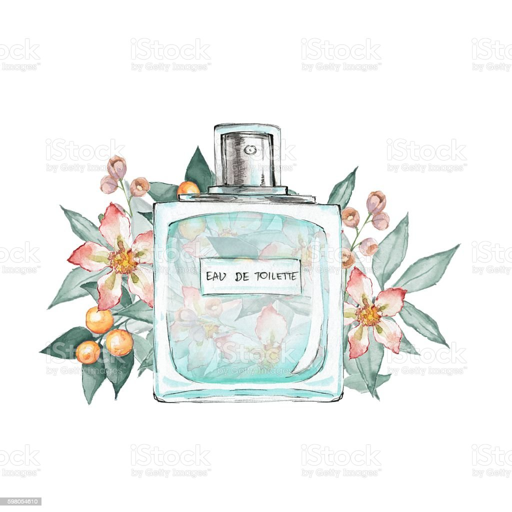 Bottle Of Perfume And Flowers 2 Isolated On White Background Stock