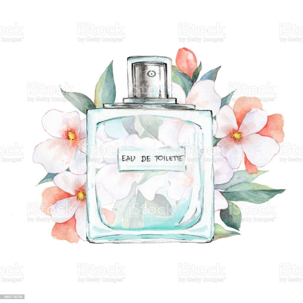 Bottle of perfume and flowers - ilustração de arte em vetor