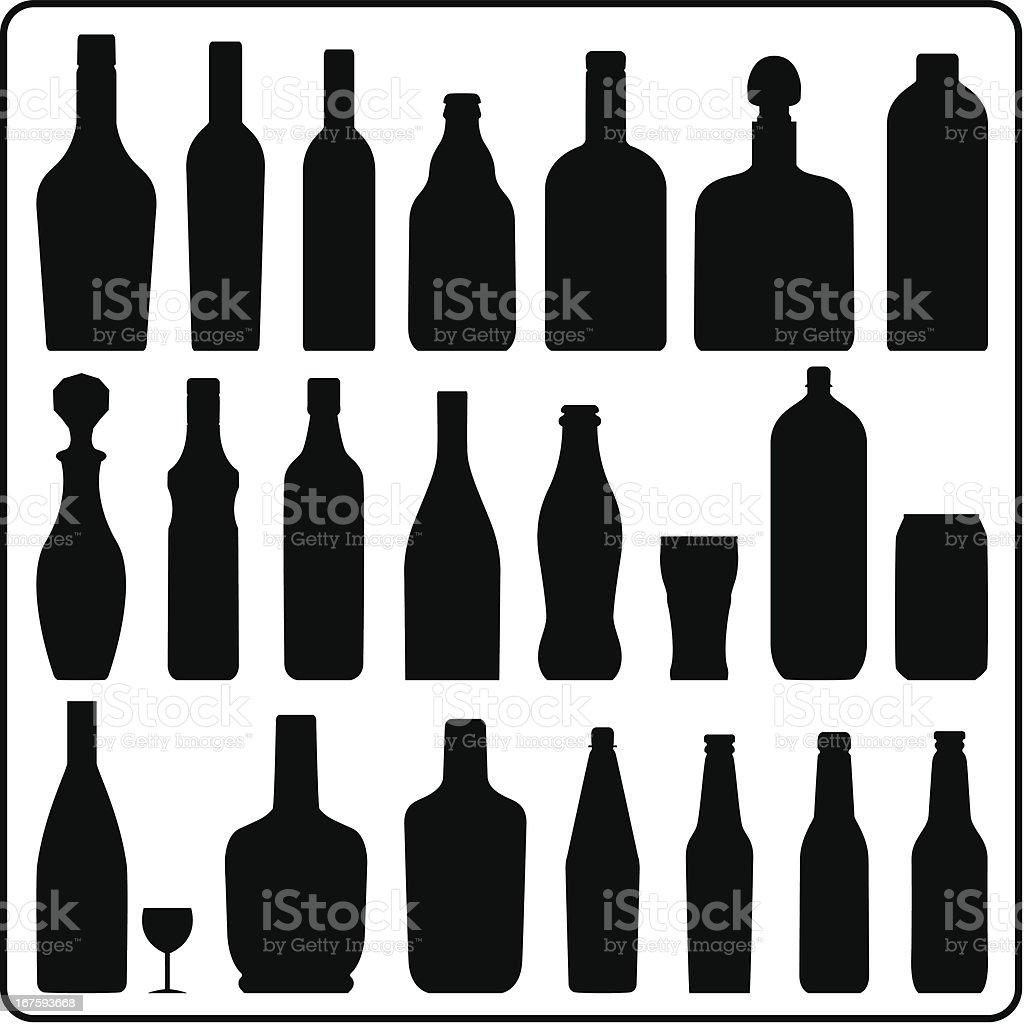 Siluetas de botella - ilustración de arte vectorial