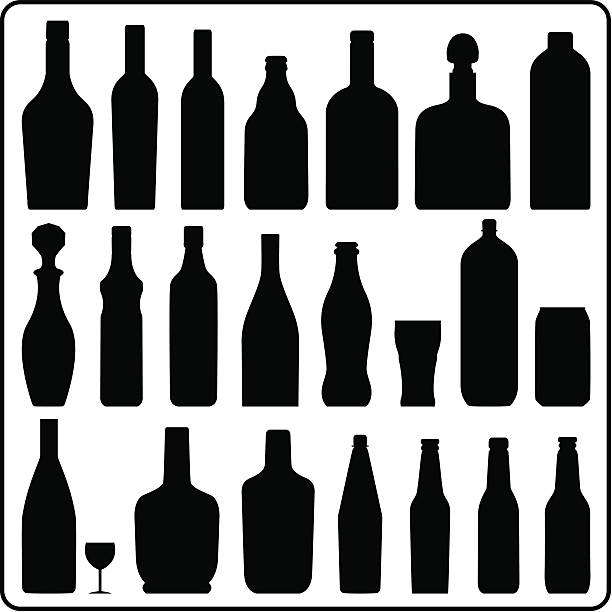 bottle silhouettes - alcohol drink silhouettes stock illustrations