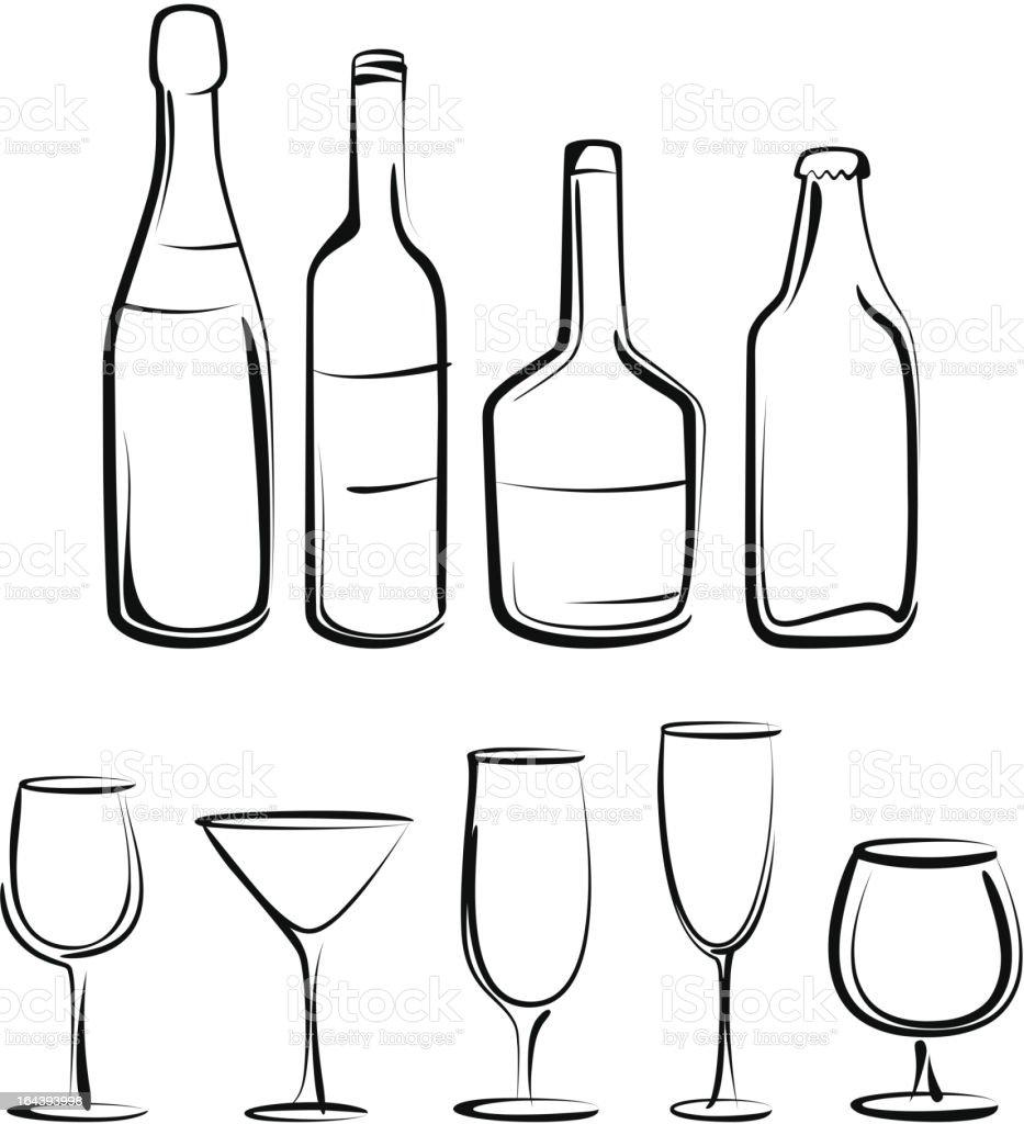 bottles  and glasses set royalty-free stock vector art