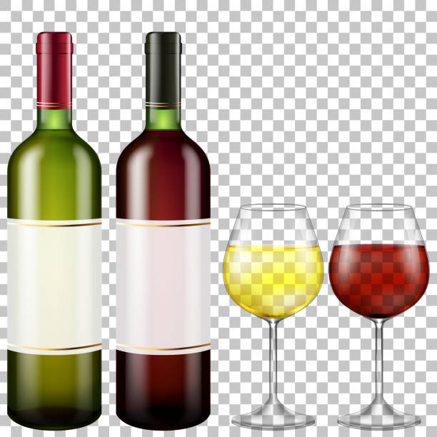 Flaschen rot und Weißwein und Gläser Wein auf transparenten Hintergrund – Vektorgrafik