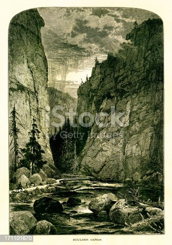 Boulder Canyon in the Rocky Mountains, Colorado, USA. Published in Picturesque America or the Land We Live In (D. Appleton & Co., New York, 1872).