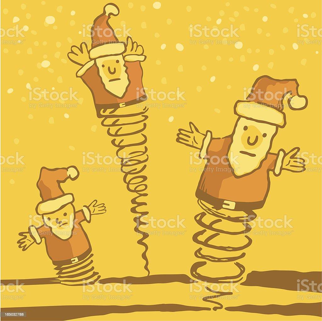 bouncing santas vector art illustration