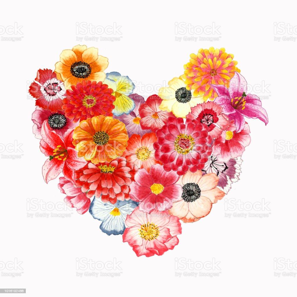 forme de coeur de bouquet de fleurs aquarelle sur isoler les
