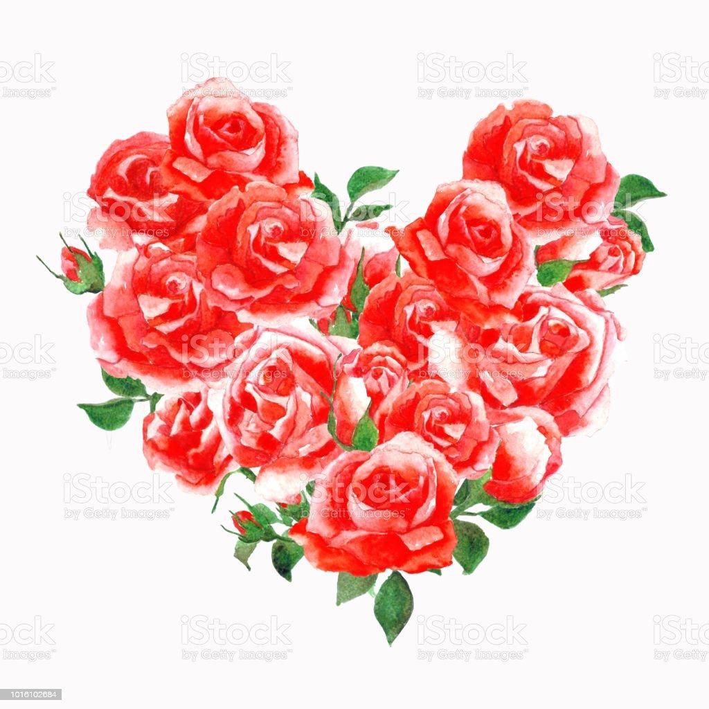 forme de coeur de bouquet de roses fleurs aquarelle sur isoler