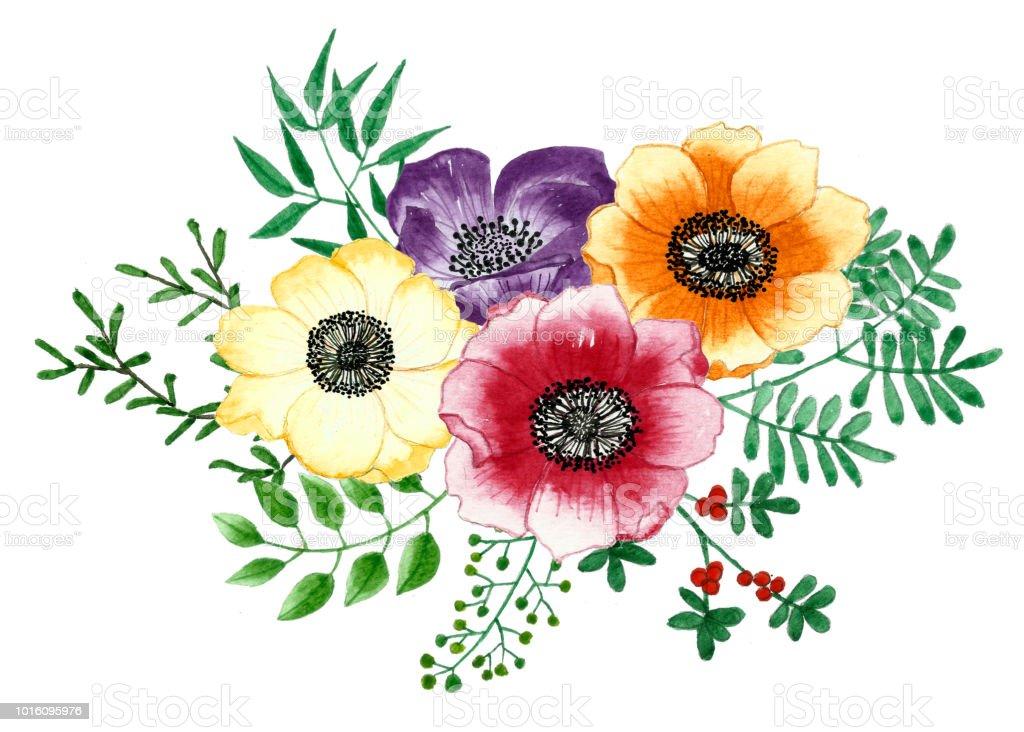 çiçekler Ve Yapraklar çiçek Suluboya Ayrı Tut Moduyla Arka Plan