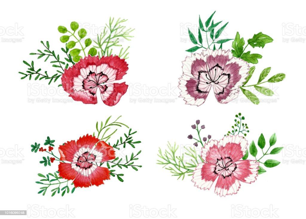 Ilustración de Ramo De Flores Y Hojas Acuarela Floral Pintura De ...