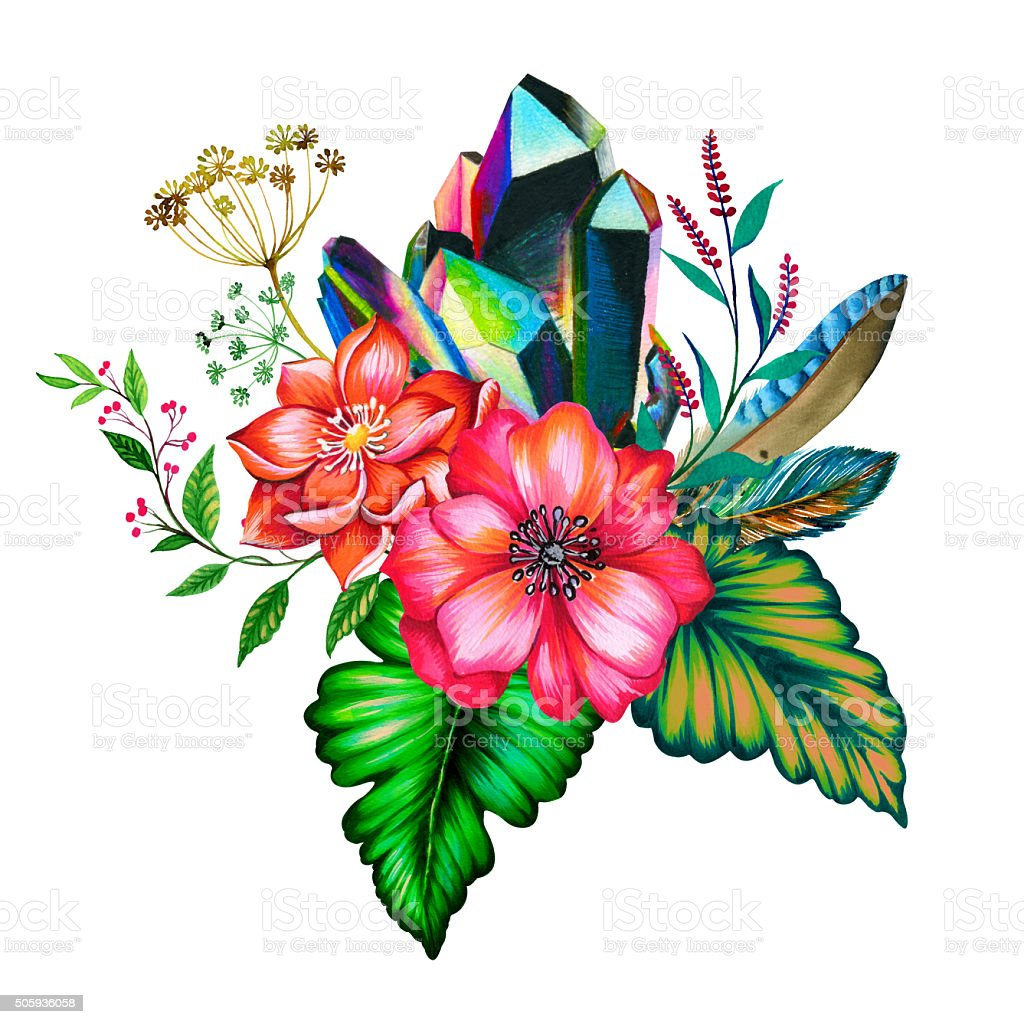 bouquet of flowers, illustration, with crystal vector art illustration